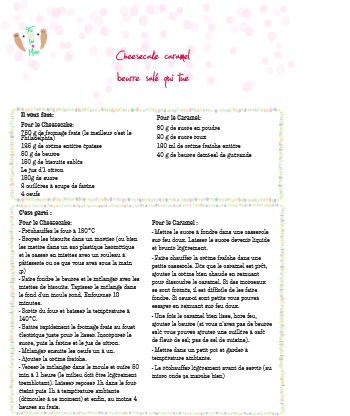 Fiche tutoriel PDF et recette Cheesecake caramel beurre salé qui tue