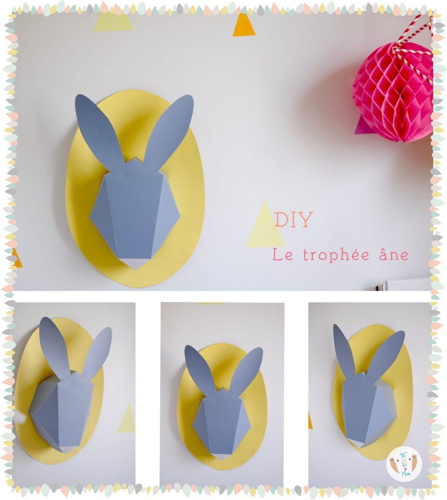 DIY Trophée âne en papier. Réaliser un jolie trophée pour la chambre de votre bébé ou enfant. Tuto et patron gratuit à télécharger.
